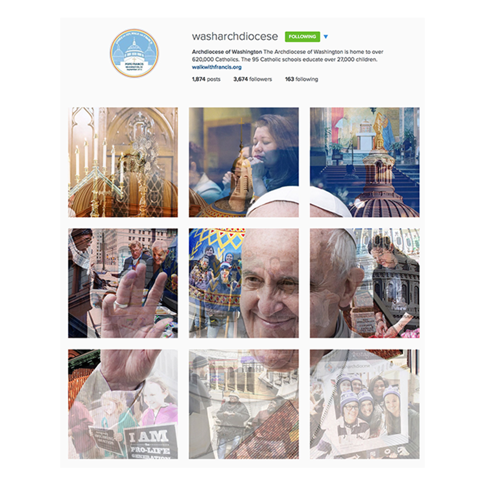 Papal Visit Instagram Graphic for the Archdiocese of Washington