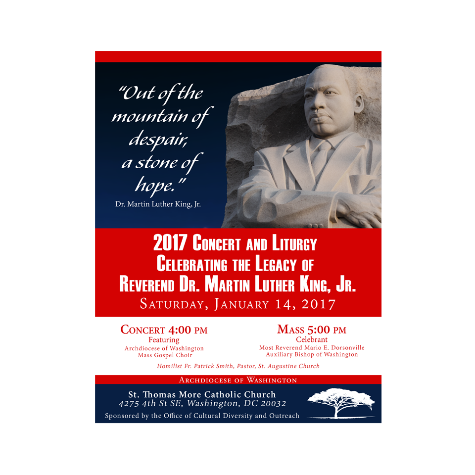 Martin Luther King Concert Flyer for the Archdiocese of Washington