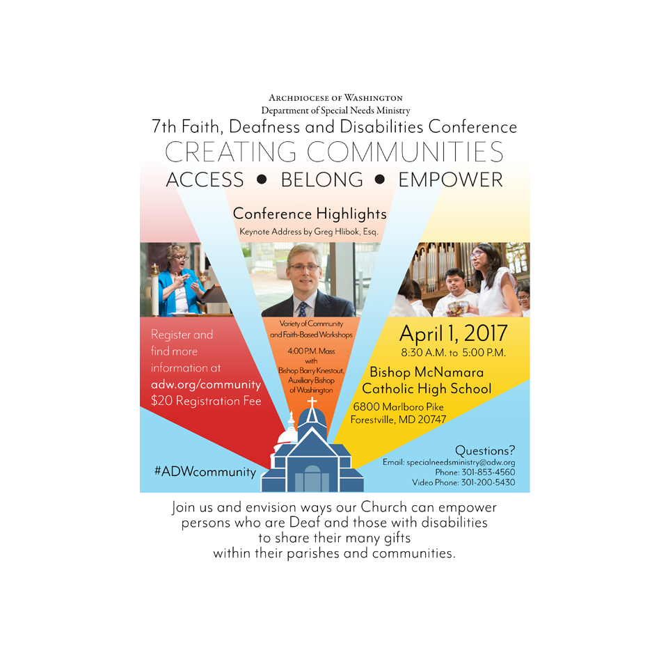Faith, Deafness and Disabilty Conference Flyer for the Archdiocese of Washington